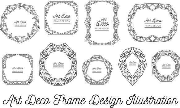 Art deco decorative frame. Wedding invitation. Vector illustration