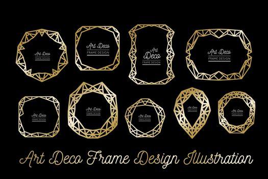 Art deco decorative frame. Golden lines. Wedding invitation. Vector illustration