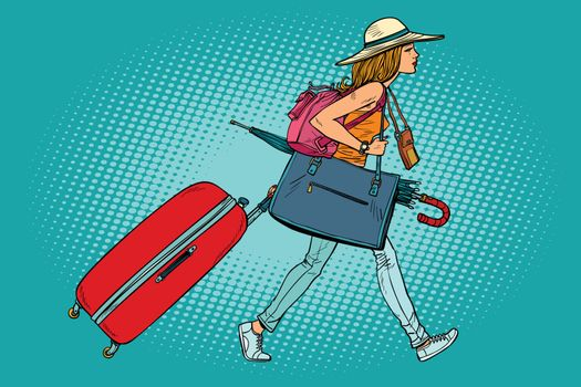 Woman traveler with Luggage