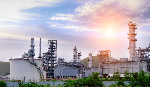 Industrial and train. Oil refinery. Gas industry and refinery.