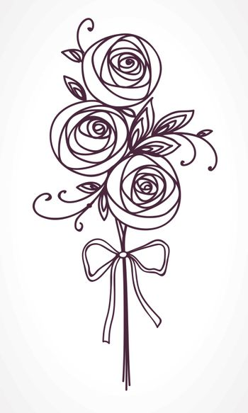 Bouquet of roses. Hand drawing stylized flowers as gift