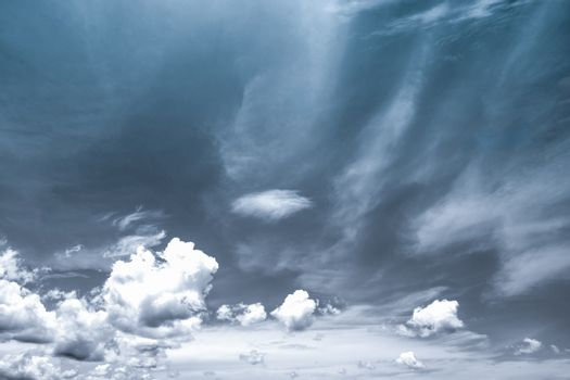 Black and white scene of sky and clouds background. Hopeless and despair concept.