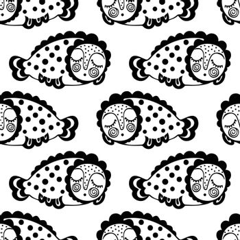 seamless pattern with dream fish. vector. marinelife