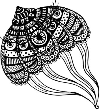 abstract large jellyfish. vector. isolate. Black and white