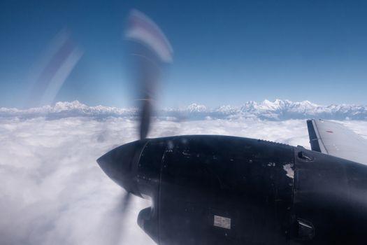 The Himalayas from a propeller plane, Nepal. Flight Kathmandu to Pokhara.
