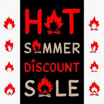 Hot summer sale sign icon with camp fire on black transparent background. Burn bonfire discount offer symbol