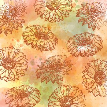 watercolor autumn pastel background with daisies