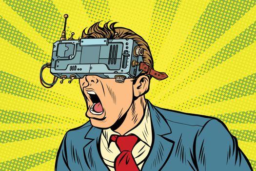 Businessman in VR glasses screaming