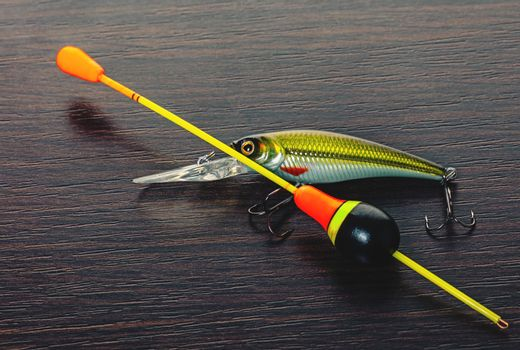 hook and float for a fishing rod close-up