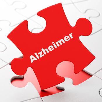 Health concept: Alzheimer on puzzle background