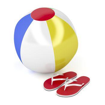 Beach ball and flip-flops