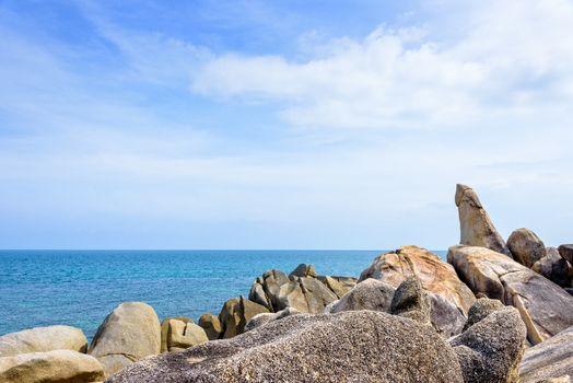 Hin Ta Hin Yai is a symbol famous tourist destinations, Beautiful rock coastline near the blue sea under the summer sky at Lamai beach of Koh Samui island, Surat Thani province, Thailand