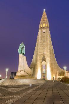 Hallgrimskirkja Cathedral Reykjavik Iceland at sunset twilight