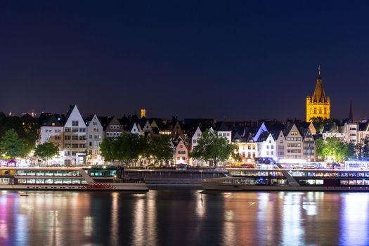 Landscape of Cologne along river rhine Germany.