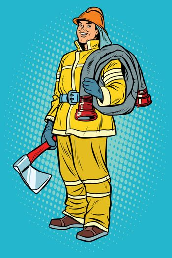 fireman with axe and hydrant