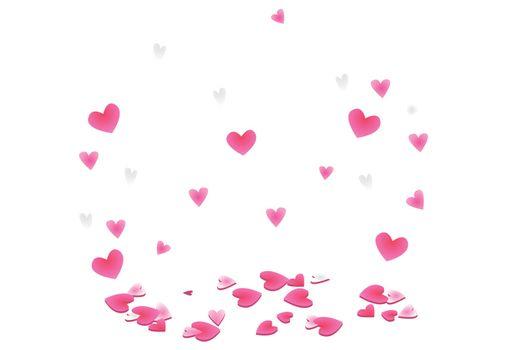 Pink hearts random falling. Romantic hearts design element. Vector illustratuion for sweet moment, wedding, anniversary, birthday.