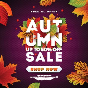 Autumn Sale Design with Falling Leaves and Lettering on Purple Background. Autumnal Vector Illustration with Special Offer Typography Elements for Coupon, Voucher, Banner, Flyer, Promotional Poster or Greeting Card