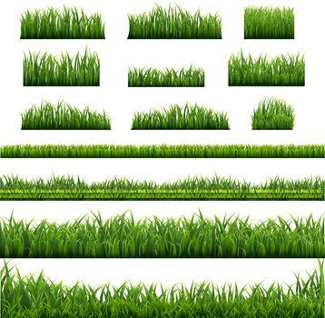 Big Set Green Grass Borders Background