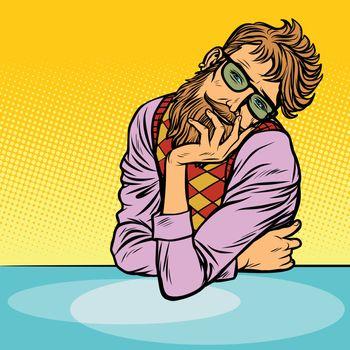 funny romantic thinker man hipster