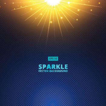 sparkle sunbeam vector on halftone