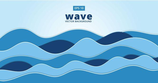 blue ocean sea wave vector background illustration