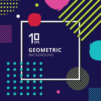 Abstract trendy colorful geometric pattern design on blue background. Vector illustration