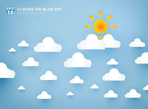 Sun and white clouds on pastel blue sky background design paper art and handicraft with copy space. Vector illustration