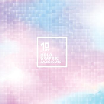 Holographic background with mosaic texture. Geometric squares pattern on hologram glith. Multicolor smooth pastel wallpaper. Colourful rainbow color. Trendy hipster style backdrop, vector for web design, print, poster, brochure, banner, annual report cover