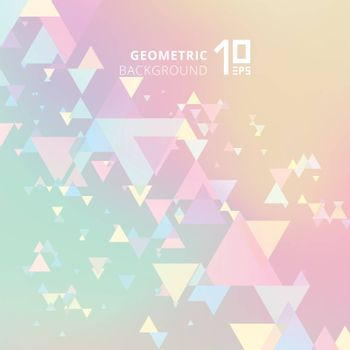 Abstract pastels color and creative modern geometric overlapping triangles on holographic background. Vector illustration