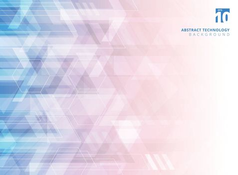 Abstract technology geometric corporate arrows on gradient blue and red background. Vector illustration