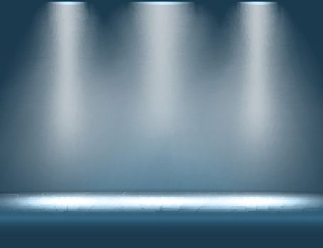 Stage with spotlight shining from above vector background