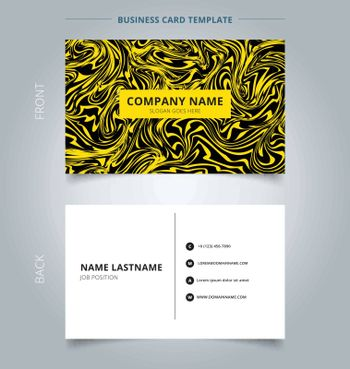 Business name card yellow marble texture on black background. Branding and identity graphic design. Vector illustration
