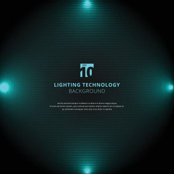 Technology blue lighting glow effect with spotlight on black horizontal lines background and texture. Vector illustration