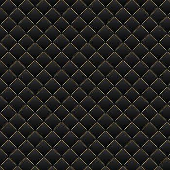 Luxury black background. Dark geometric squares pattern texture. Vector illustration