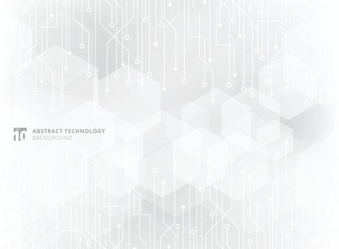 Abstract technology circuit board on gray geometric hexagon overlay pattern background. Vector illustration
