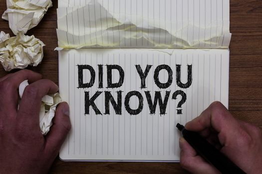 Writing note showing Did You Know question. Business photo showcasing Fun Facts and Figures Information General Knowledge Man holding marker notebook crumpled papers ripped pages mistakes made