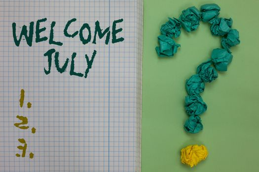 Text sign showing Welcome July. Conceptual photo Calendar Seventh Month 31days Third Quarter New Season Notebook paper crumpled papers forming question mark green background
