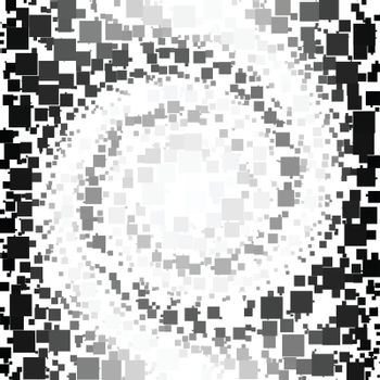 Background Made of a Spiral Black and White Gradient and Squares