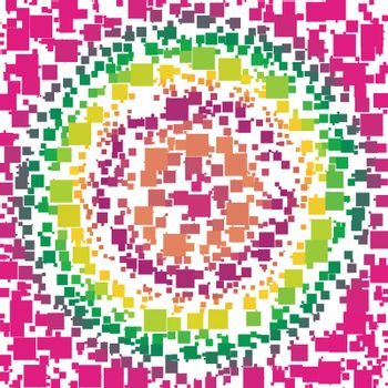 Background Made of a Concentric Gradient and Squares