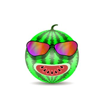 Fresh Sweet Natural Ripe Watermelon Icon with Black Seeds and Modern Sunglasses Isolated on White Background
