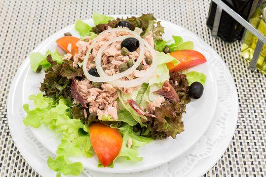 Tuna salad with fresh vegetable, mediterranean cuisine