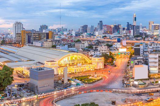 Bangkok Central Train Station with Skyline cityscape sunset Thailand
