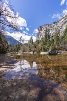 Mirror Lake at Yosemite Valley national Park in California San Francisco USA