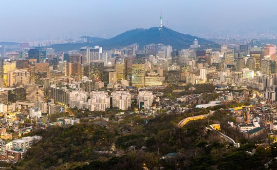 Aerial Sunset and Night view of Seoul Downtown cityscape with Seoul Tower in South Korea panorama