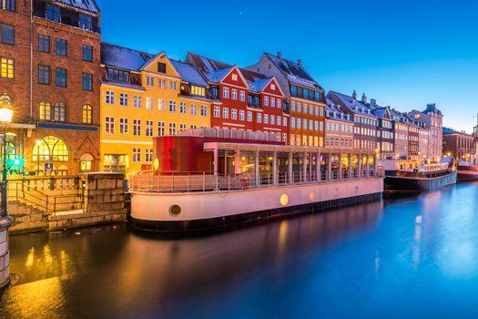 Copenhagen Nyhavn, New port of Copenhagen, at night in Denmark