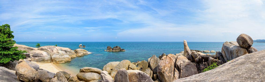 Panorama Hin Ta Hin Yai, beautiful nature landscape of exotic rocks coastline near the blue sea under the summer sky at Lamai beach of Koh Samui island, Surat Thani province, Thailand