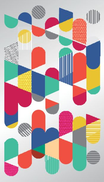Abstract geometric graphic, colorful circle capsule. Flat Dynamic Design. Applicable for Covers, Placards, Posters, Flyers and Banner Designs. Vector illustration.