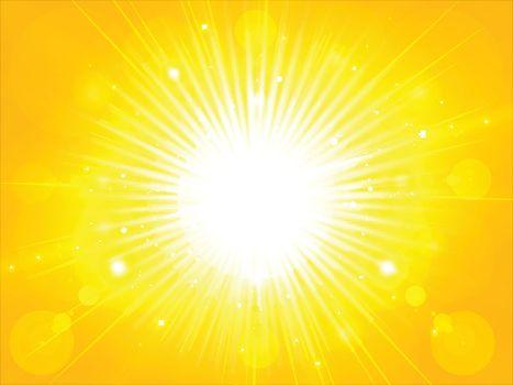 yellow orange summer sun light burst. glittering summer sun, background with copy space, Vector Illustration