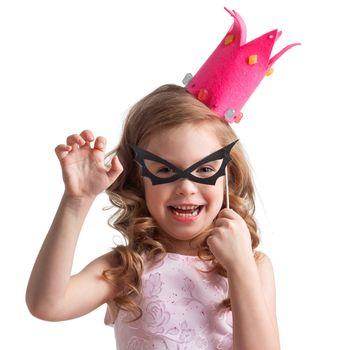 Little girl in bat mask