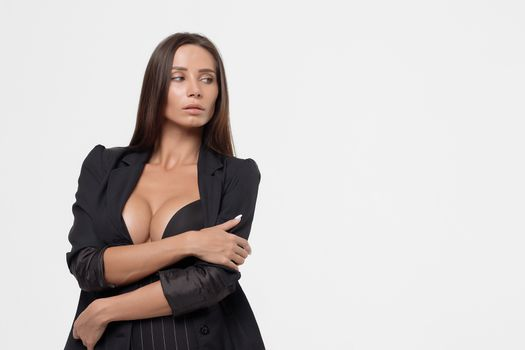 Passionate lady with deep neckline